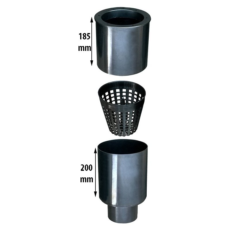 Aquaforte rohrskimmer 200 mm mit schmutzkorb for Vijver skimmer