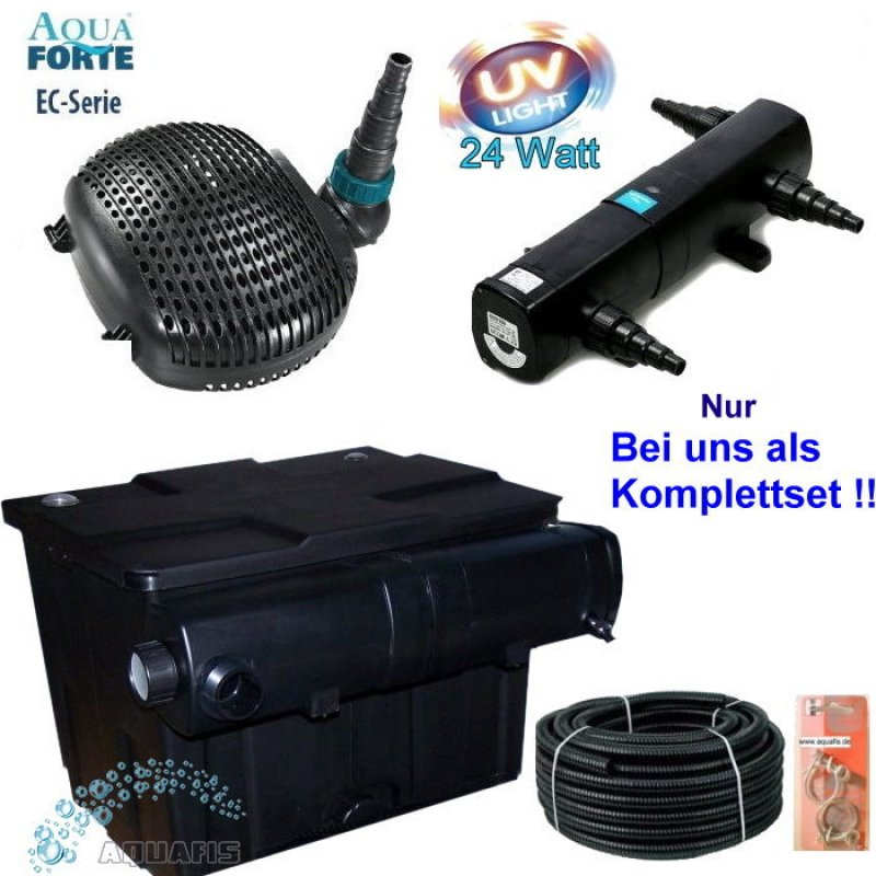teichfilter komplett set mit uv c 24w und aquaforte ec. Black Bedroom Furniture Sets. Home Design Ideas