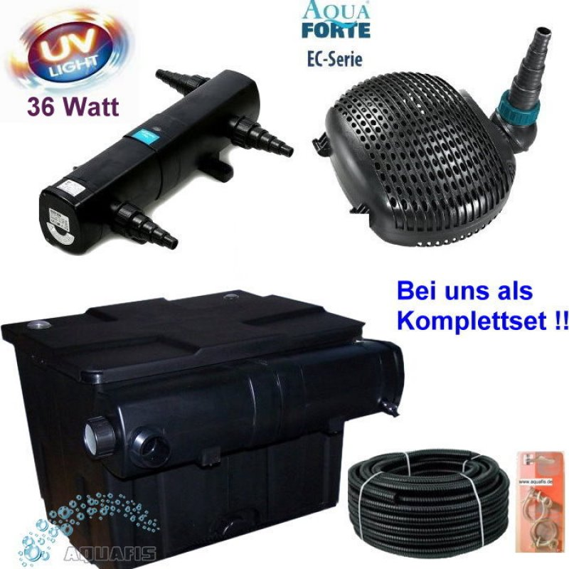 teichfilter komplett set mit uv c 36w und aquaforte ec serie pumpe 3500. Black Bedroom Furniture Sets. Home Design Ideas